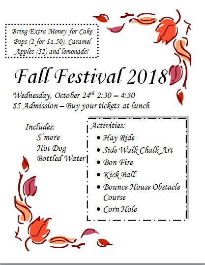 Fall Festival is next Wednesday