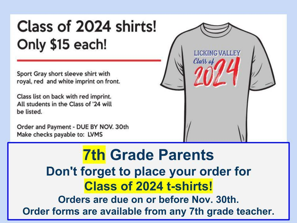 7th grade t-shirts are available