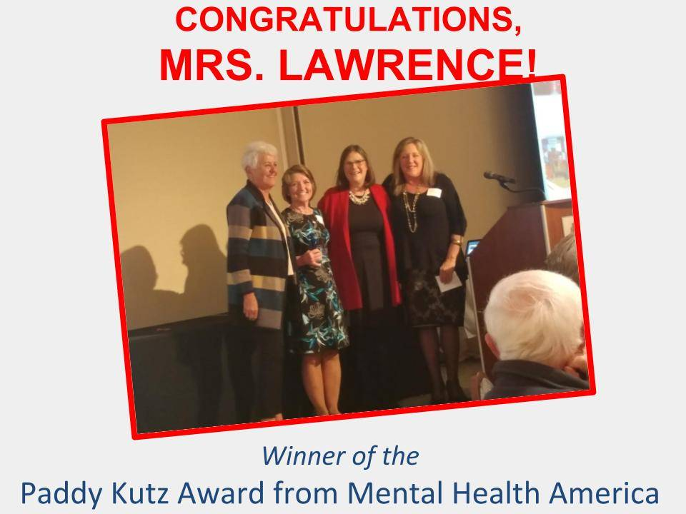 Congratulations to Mrs. Lawrence, winner of Paddy Kutz Award