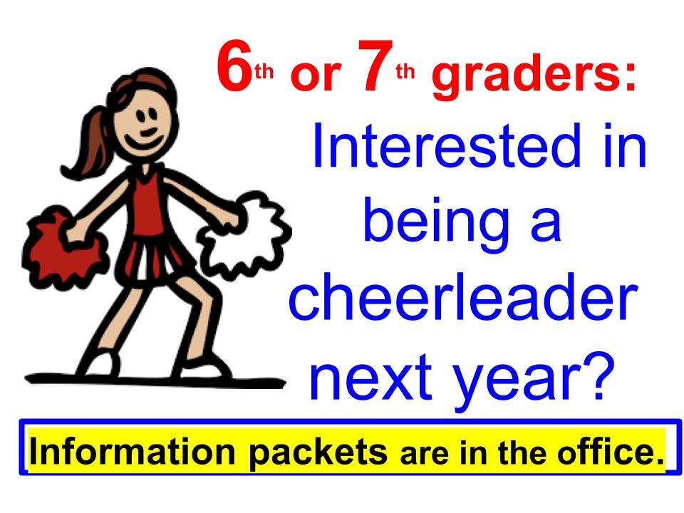 Cheerleading packets are in the office
