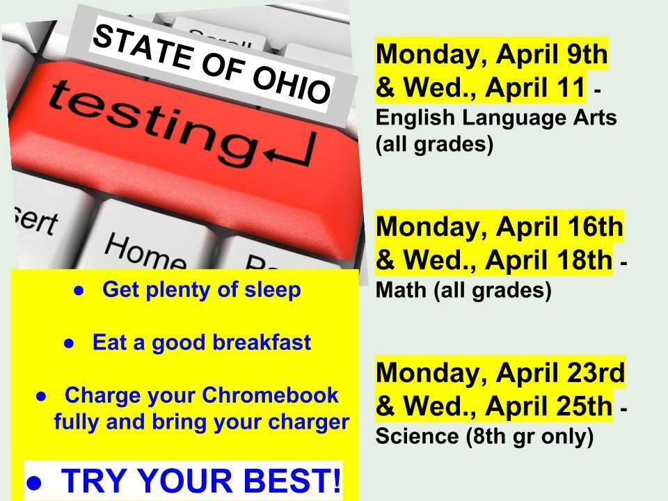 Testing begins April 9th