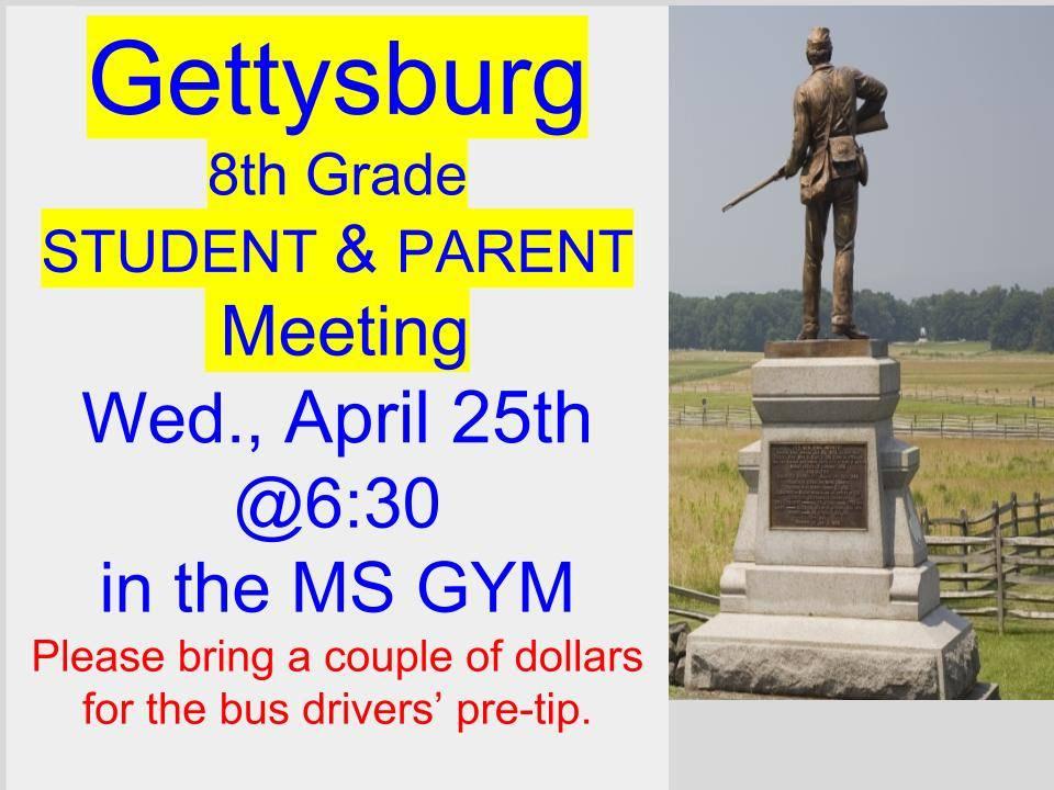 Gettysburg meeting 4/25/18 at 6:30