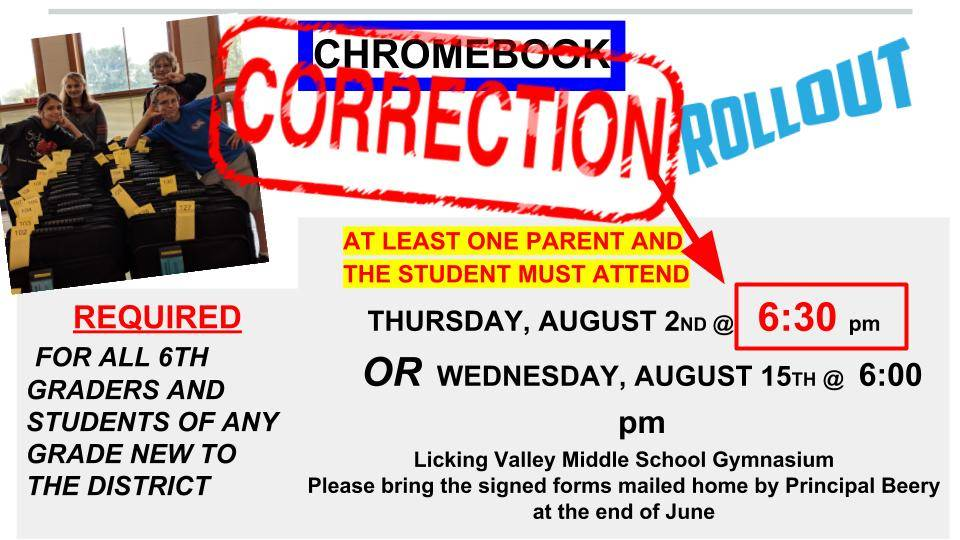 Chromebook Rollout Correction
