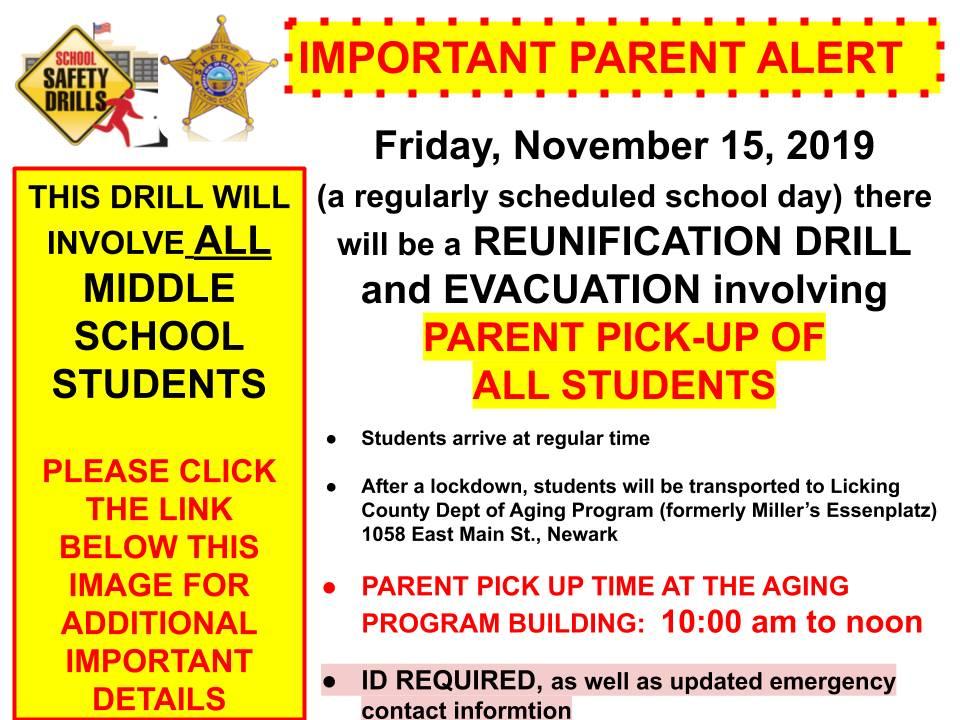 reunification drill Nov 15th