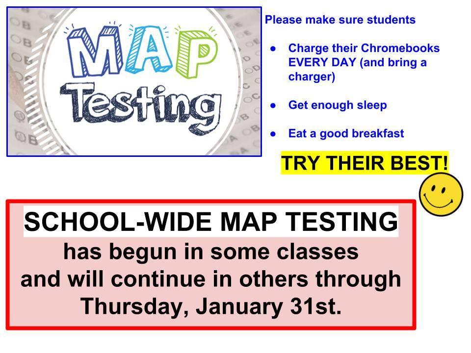 MAP testing through Jan 31