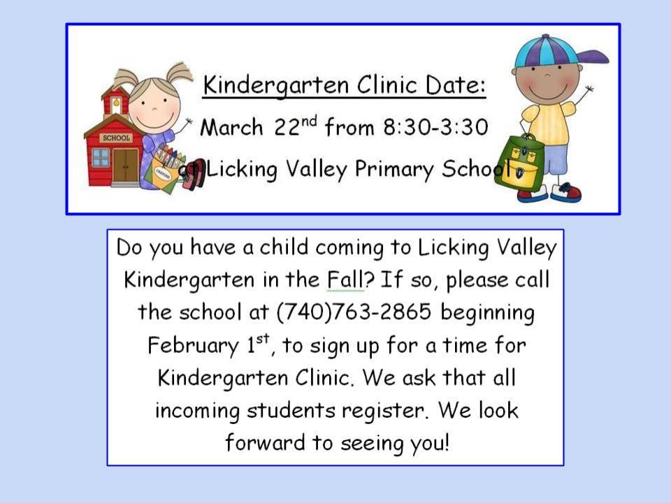 Kindergarten Clinic March 22