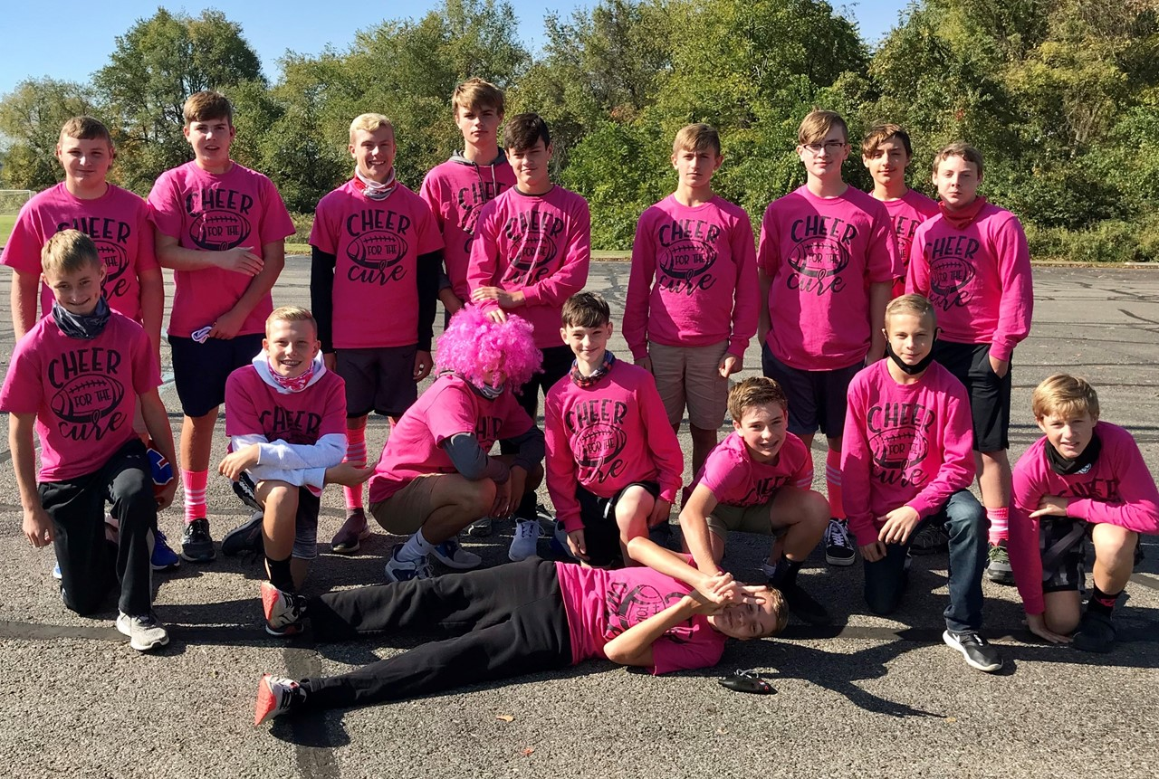 8th Grade Football Team Wears Pink For Cheer For The Cure