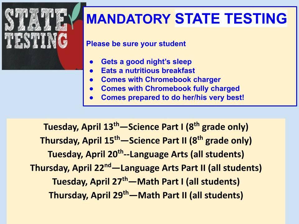 State Testing Starts April 13