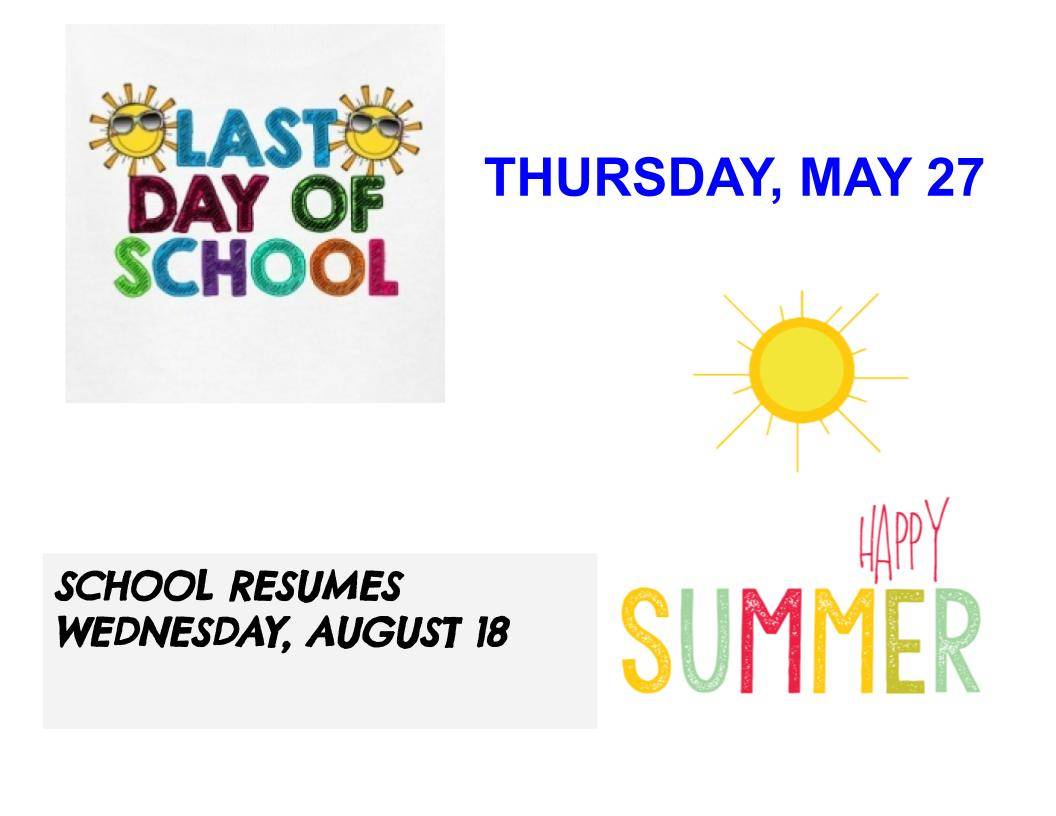 last day of school May 27
